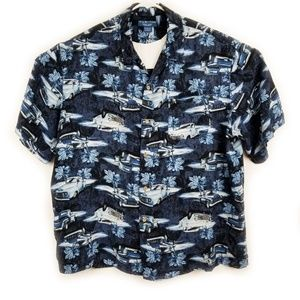 Puritan XL Hawaiian Shirt Blue Rayon Coco